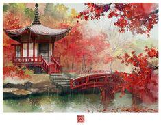 #wattpad #ngu-nhin Ảnh được lấy từ nhiều Artist. Thấy ảnh đẹp thì vote đi. Vote free mà :)) Japanese Landscape, Fantasy Landscape, Landscape Art, Landscape Paintings, Fantasy Art, Watercolor Landscape, Watercolor Art, Jasmin Tattoo, Japan Painting
