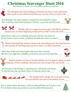 Printable Christmas Scavenger Hunt Clues Between Us Parents 2016