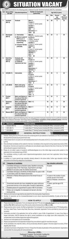 Last Date :14th February, 2017 Location : Islamabad Organization : Nation Counter Terrorism Authority Education Required : Graduation, Intermediate, Matric Today you will be having latest job opportunity from National Counter Terrorism Authority NACTA Jobs 2017 Pakistan PTS Latest Online Form here with this leading job page. Applications are invited from National Counter Terrorism Authority intends to hire self motivated, competent, adroit, experienced and qualified applicants are requires…