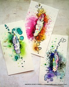 art journal mixed media inspiration Snapping Monsters cards made with Echo Park feather dies and Infusions Color Stain-- by Andrea Ockey Parr Kunstjournal Inspiration, Art Journal Inspiration, Journal Ideas, Junk Journal, Bullet Journal, Atc Cards, Card Tags, Art Journal Pages, Art Journals
