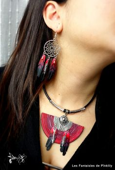 Les Fantaisies de Pink Lily goes American Indian style with polymer clay.  Just gorgeous