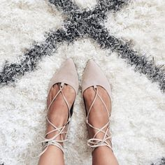 Cream Lace Up Flats #sexyshoes