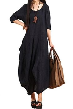 Mordenmiss Women's Summer New Half Sleeves Irregular Linen Dress with Back Pocket Navy Blue Mordenmiss http://www.amazon.com/dp/B00XQPAHMW/ref=cm_sw_r_pi_dp_0Jn1vb16906Q2
