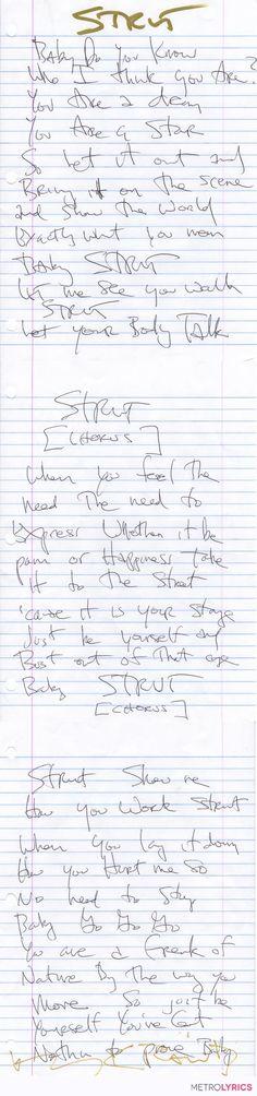 Nice:)...Handwritten Lyrics and a Collector's Box Set from Lenny Kravitz | MetroLyrics