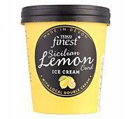 Tesco Finest Sicilian Lemon Curd Ice Cream with a lemon curd ripple. Lemon Curd Ice Cream, Ice Cram, Sicilian, Frozen, Mugs, Tableware, How To Make, Crafts, Manualidades