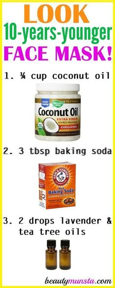 Do you want to look 10 years younger? Try using coconut oil and baking soda for wrinkles 3 times a week! What Coconut Oil and Baking Soda Does for Wrinkles Coconut oil and baking soda are both amazing anti-aging ingredients. Baking soda helps with cleans Anti Aging Skin Care, Natural Skin Care, Natural Oil, Anti Aging Mask, Anti Aging Tips, Natural Facial, Anti Aging Cream, Baking Soda Shampoo, Baking Soda Coconut Oil