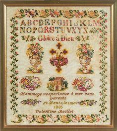 """Valentine Baillet  1885 ~ """"Gloire à Dieu"""" """"Hommage respectueux à mes bon parents""""  Collection de Regine Deforges"""
