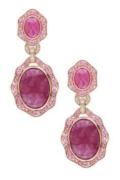 14K Rose Gold Diamond & Pink Sapphire Earrings <3