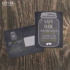 Rustic Save the Date  Mason Jar Save the Date by katleminvitations, $15.00