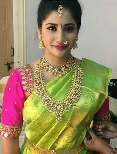 Kasu embellished blouse designs for silk saree Sari Blouse Designs, Bridal Blouse Designs, Dress Designs, Mode Bollywood, Indian Bridal Fashion, South Indian Bride, Bridal Jewelry, Gold Jewelry, Pearl Jewelry