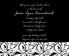 White, Invitations, Wedding, Bridesmaids, Bridal, Black, And
