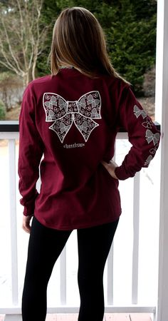 """The """"Lisa"""" Bows and Bows Long Sleeve Tee – Cheerbrats Cute Cheer Shirts, Cheer Coach Shirts, Cheerleading Shirts, Cheer Coaches, Cheer Practice Outfits, Cheer Outfits, School Outfits, Cheer Camp, Cheer Dance"""
