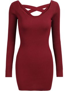 Shop Red Criss Cross Long Sleeve Bodycon Dress online. Sheinside offers Red Criss Cross Long Sleeve Bodycon Dress & more to fit your fashionable needs. Free Shipping Worldwide!