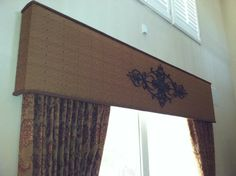 Custom drapes & cornice with added wrought iron designed for my client. Curtains With Blinds, Furniture Design Modern, Custom Drapes, Luxury Window Treatments, Wrought Iron Design, Window Design, Diy Window, Wood Valance, Window Cornices