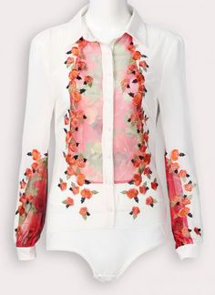 White Lapel Long Sleeve Embroidery Silk Jumpsuits pictures