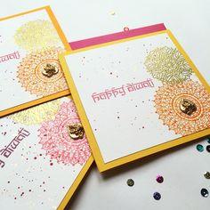 Modern twist on our Diwali greetings cards - with white embossed paisley. Handmade Diwali Greeting Cards, Diwali Cards, Diwali Greetings, Diwali Gifts, Happy Diwali, Handmade Birthday Cards, Watercolor Mandala, Watercolor Cards, Mandala Stencils
