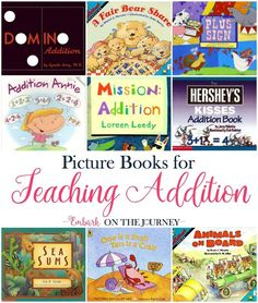 These picture books will bring your math lessons to life! Introduce or reinforce addition with these picture books and my free activity pages for grade. Math Literature, Math Books, Children's Books, Kid Books, Toddler Books, Teaching Addition, Math Addition, Math Games, Math Activities