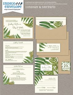 For a couple in the landscape architecture field, vintage fern drawings were used to create custom wedding invitations. #mountainweddings  #indigoenvelope