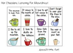 Speech Time Fun: Hot Chocolate Listening Activity Freebie & Auditory Memory Magic Download Giveaway! (ends 1/27) Pinned by SOS Inc. Resources. Follow all our boards at pinterest.com/sostherapy for therapy resources.