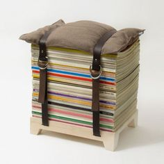 Hockenheimer Sitzhocker by NJUSTUDIO , nice idea for a couple of my magazines,just need two belts and a cusion...with crochet cover ofcourse.
