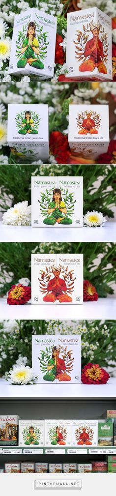 Namastea Indian Tea packaging designed by 360 creative agency - http://www.packagingoftheworld.com/2015/09/namastea-indian-tea.html