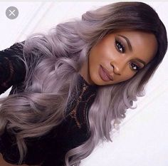 hair style wigs on sale at reasonable prices, buy Sexy Black T Grey Hand Tied Synthetic Lace Front Wig Glueless high density Heat Resistant fiber perruque front lace party wig from mobile site on Aliexpress Now! Purple Grey Hair, Ombre Hair Color, Grey Blonde, Grey Ombre, Gray Hair, Light Purple, Curly Hair Styles, Natural Hair Styles, Hair Laid