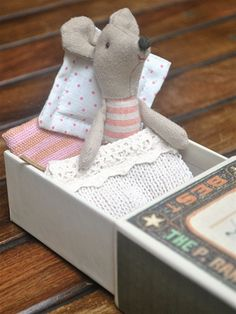 These little mice in a matchbox are adorable little pals. This reminds me of Suzie from Chez Helene.