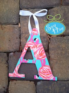 A hand painted in Lilly Pulitzer print