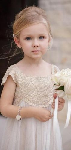 Tulle Flower Girl Dress with Lace Detailed Top