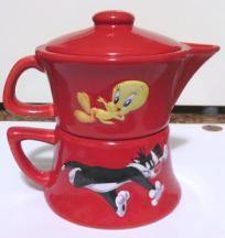Tweety Bird & Sylvester RED Stack Teapot (FREE MUG & SHIP!)!)