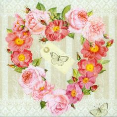 4 Decoupage Napkins   Valentine of Roses & Butterflies   Rose Napkins   Romantic Napkins   Floral Napkins Paper Napkins for Decoupage
