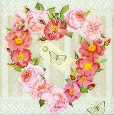 4 Decoupage Napkins | Valentine of Roses & Butterflies | Rose Napkins | Romantic Napkins | Floral Napkins Paper Napkins for Decoupage