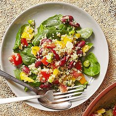 Basil Quinoa Salad Cook whole grains in big batches -- they keep three to four days in the refrigerator and reheat easily with a little added water or broth.