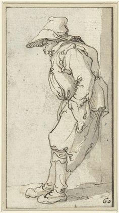 anoniem   Bedelaar tegen een muur leunend, possibly Jacob Roos, 1600 - 1760   Staande bedelaar tegen een muur leunend, de handen in de zakken.