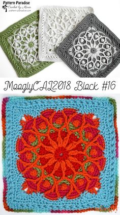 Moogly CAL 2018 Block 16 is a challenge - and it's worth it! Stretch your skills and make a beautiful square with this free pattern by Pattern Paradise! Crochet Motif Patterns, Crochet Blocks, Granny Square Crochet Pattern, Crochet Squares, Crochet Granny, Crochet Designs, Knitting Patterns, Granny Granny, Afghan Patterns