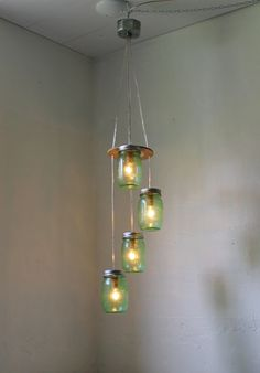 Green Day Mason Jar Chandelier Spiral Cascading by BootsNGus