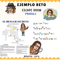 Escape room. Esta cuenta tiene varios metodologías nuevas Spanish Lessons, English Lessons, Learning Spanish, Escape The Classroom, Flipped Classroom, Escape Room, 21st Century Learning, School Plan, Activities For Adults