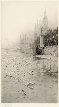 Royal Air Force Memorial, Victoria Embankment, William Lionel Wyllie. (1851 - 1931)  - Etching with aquatint -