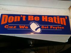 Peyton Manning Bumper Sticker - special listing***