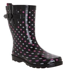 Capelli New York Ladies Shiny On The Dot Printed Rubber Rain Boot Black Combo 8 ** To view further for this item, visit the image link.