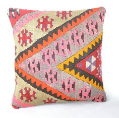 "Kilim pillow, Wool kilim cousin from Anatolia,40x40 cm, 16""x16"", Cotton back with Zip closure, Dry cleaning, Decorative pillow."