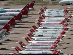Northwest Airlines, retired Aircraft at Pinnelas Airpark in Marana, AZ .