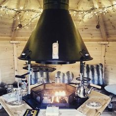 Barbecue Cabin interior with fairy lights