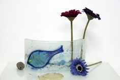 Curved vase dwvided to tow vases Fused glass blue by virtulyglass