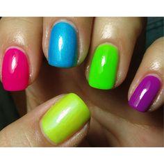 Pinterest Neon Nails | love all the neon colors sooooo pretty