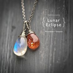 Lunar Eclipse - Moonstone and Sunstone Wire Wrapped Sterling Silver Necklace
