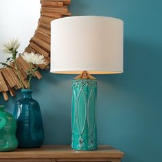 Blue Table Lamp, Ceramic Table Lamps, Light Table, Interior Design Studio, Mason Jar Lamp, At Home Store, Drum Shade, Living Room Designs, Ceiling Lights