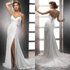 White Chiffon Front Silt Sweetheart Casual Style Backless Halter Top Beach Wedding Dresses 2014