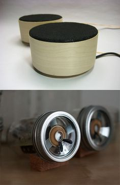 Nifty Speakers made from recycled items.