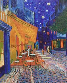 Replica of Cafe Terrace at night. The original painting was created by Vincent van Gogh. Gallery La Fayette offers high quality reproductions of Van Goghs Famous Art Paintings, Monet Paintings, Van Gogh Paintings, Original Paintings, Canvas Paintings, Van Gogh Pinturas, Night Gallery, Painted Vans, Van Gogh Art